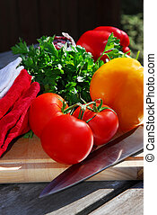 Fresh vegetables - Assorted fresh garden vegetables on...