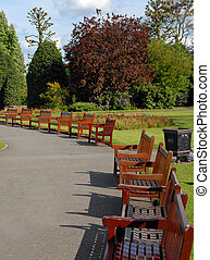 Park Benches - Row of park benches all lined up waiting to...