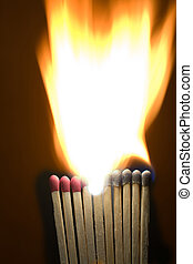 Burning Matches with black background