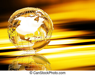 Wireframe globe - 3D wireframe globe on abstract background