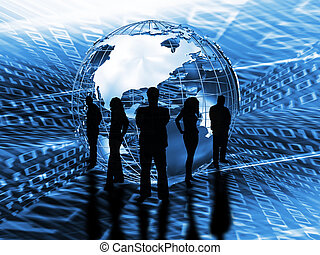 World trading - Silhouette of a business team in front of a...