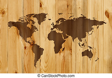 wooden map - made form my images, special toned photo fx