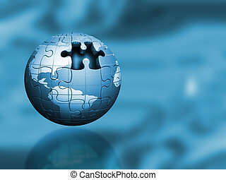Puzzle globe - Globe with jigsaw puzzle texture with one...