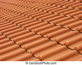 Roof 2 - Background of red tiles pattern on traditional roof...