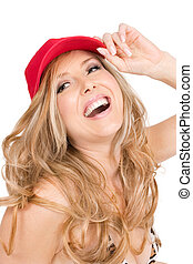 Carefree laughs - A woman laughing and enjoying herself