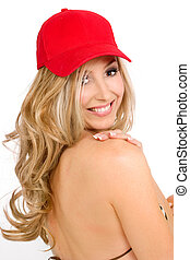 Smiling Sunlover - Bikini woman wilth blonde curled hair...