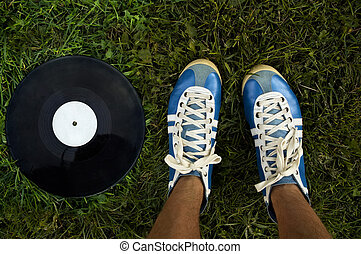 music of the summer - vintage shoes and disk on the green...