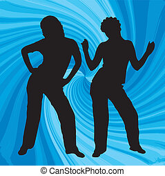 Dancing girls - silhouette of two dancing women