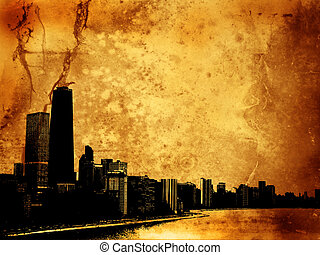 Grunge buildings - Grunge style background with view of...