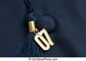 Graduation 07 - Gold \\\'07 tassle on background of blue...
