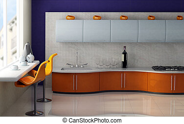 Breakfast in modern kitchen - Modern kitchen with orange and...