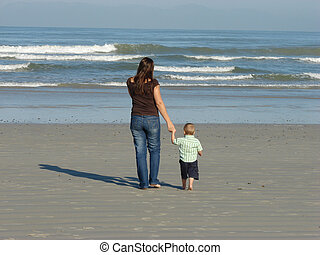 Mother & Child - Mother and son playing on the beach...
