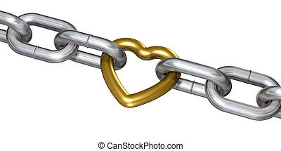 Golden heart in chains - Golden heart linked with steel...