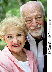Beautiful Senior Couple - Closeup portrait of a beautiful,...