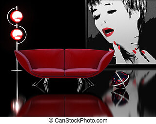 Modern interior in black and red - 3D rendering of a modern...