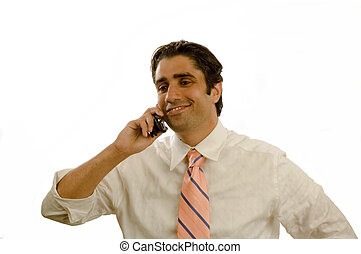 Young executive on cell phone