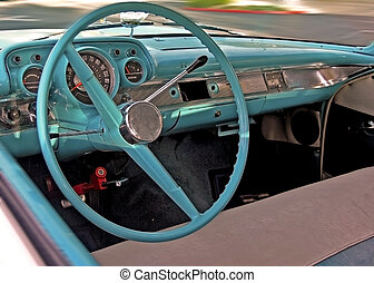 car - vintage car blue intererior
