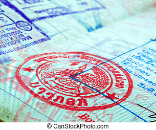 visa - lao visa stamp in a us passport