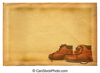 boots on retro background - boots profile against retro...