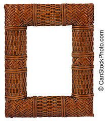 rattan frame - close-up of hollow rattan frame isolated on...