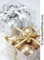 Christmas balls - Gold and silver Christmas balls in a box...