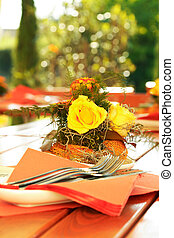 Outdoor dining - Table decoration in outdoor restaurant