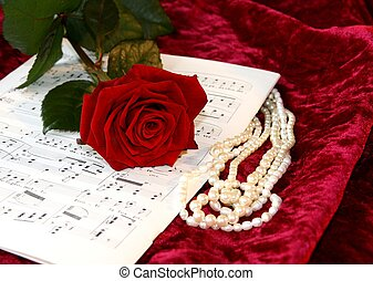 Opera music - Opera sheet music, red rose, pearls and red...