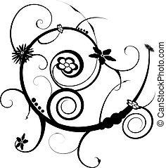 scroll tattoo - An abstract black and white floral scroll...