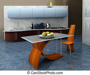 Blue kitchen - Modern kitchen with apples on the table