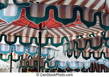 Patio Umbrellas at a Cafe - Photo of a patio umbrelllas at a...