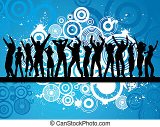 Grunge party - Silhouettes of people dancing on grunge...
