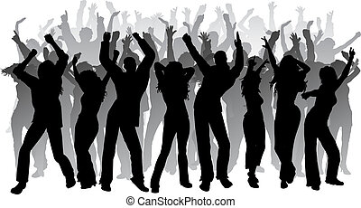 Huge party - Silhouettes of lots of people dancing