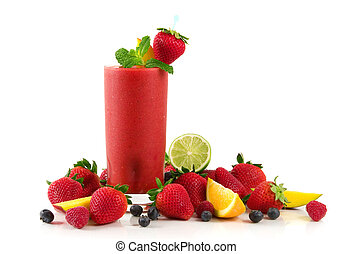 Strawberry smoothie - A glass of strawberry smoothie...