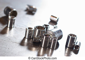 flank sockets - assorted flank sockets on the metal surface