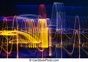 Cardiogram of night city - Colorful cardiogram of night...