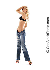 muscular blond in blue jeans