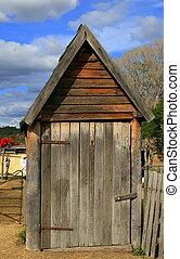 Old Shed - An old a frame shaped shed in country Queensland,...