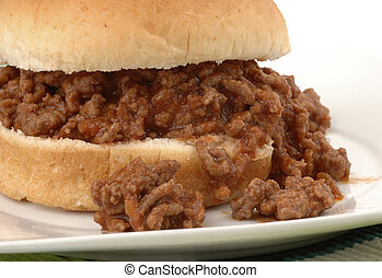Sloppy Joe - Close-up of a sloppy beef sandwich
