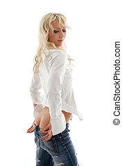 lovely blond pulling jeans down #2 - picture of lovely blond...