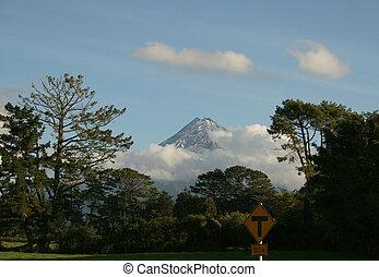 Mount Egmount - A Landscape of clouds hiding mount egmount