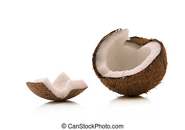 coconut - open coconut over white background