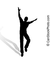 Jumping man silhouette - A man jumping and dancing for...