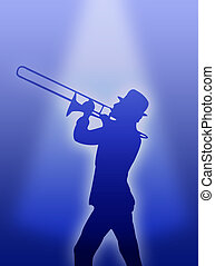 Trumpet player - A trumpet player silhouette in the light