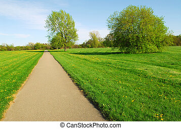 Summer landscape - Green late spring landscape with empty...