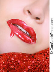 dripping gloos - sexy red lips with dripping lip gloss and...