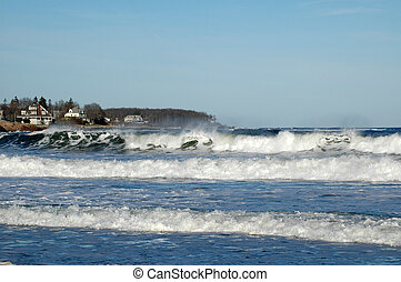 Surf at York Beach, Maine on a sunny winter day