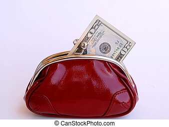 pocket money - red change purse with twenty dollar bill