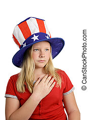 Solemn Pledge - A pretty American girl in a stars and...