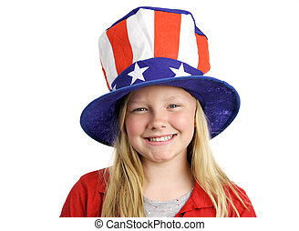 All American Girl - A pretty blond little girl smiling in a...