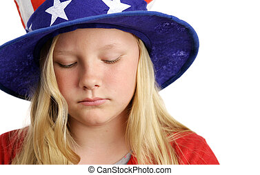 Stars Stripes and Sadness - A beautiful young girl wearing a...
